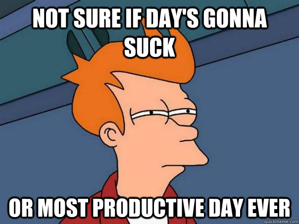 not sure if days gonna suck or most productive day ever - Futurama Fry