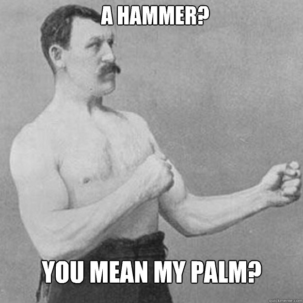 a hammer you mean my palm  - overly manly man