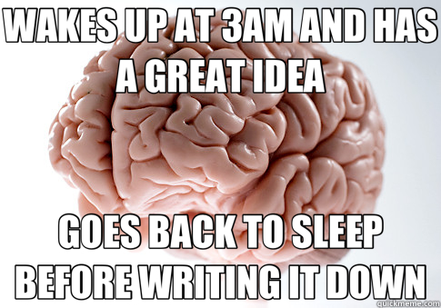 WAKES UP AT 3AM AND HAS A GREAT IDEA GOES BACK TO SLEEP BEFO - Scumbag Brain