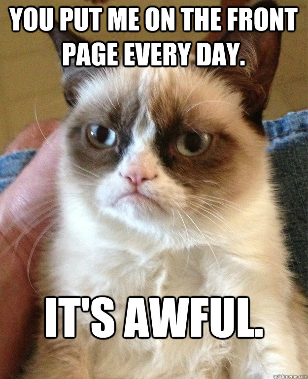 you put me on the front page every day its awful - Grumpy Cat