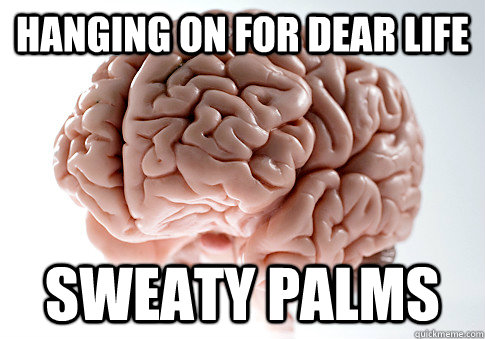 hanging on for dear life sweaty palms - Scumbag Brain