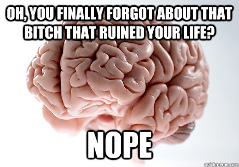 oh you finally forgot about that bitch that ruined your lif - Scumbag Brain