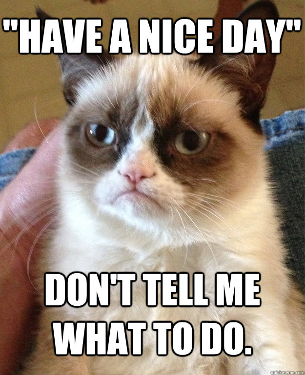 have a nice day dont tell me what to do - Grumpy Cat