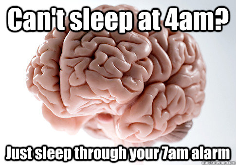 cant sleep at 4am just sleep through your 7am alarm  - Scumbag Brain