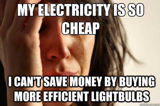 my electricity is so cheap i cant save money by buying mor - First World Problems
