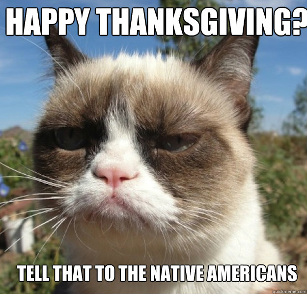 happy thanksgiving tell that to the native americans - grumpy cat