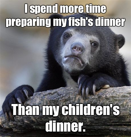 I spend more time preparing my fishs dinner Than my children - Confession Bear