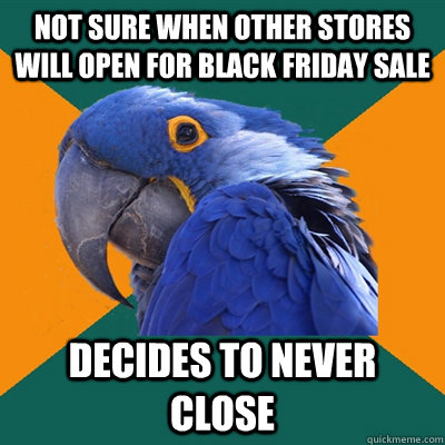 not sure when other stores will open for black friday sale d - Paranoid Parrot