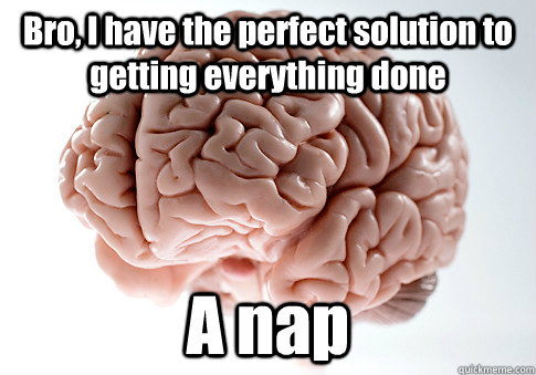 bro i have the perfect solution to getting everything done  - Scumbag Brain