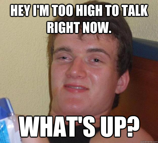 hey im too high to talk right now whats up - 10 Guy