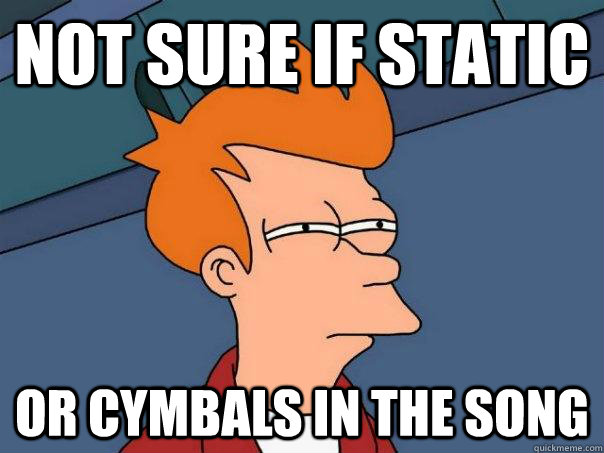 not sure if static or cymbals in the song - Futurama Fry