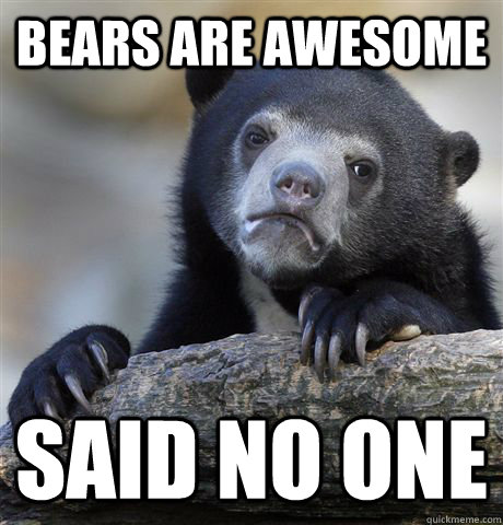 bears are awesome said no one - Confession Bear