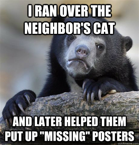 i ran over the neighbors cat and later helped them put up  - Confession Bear