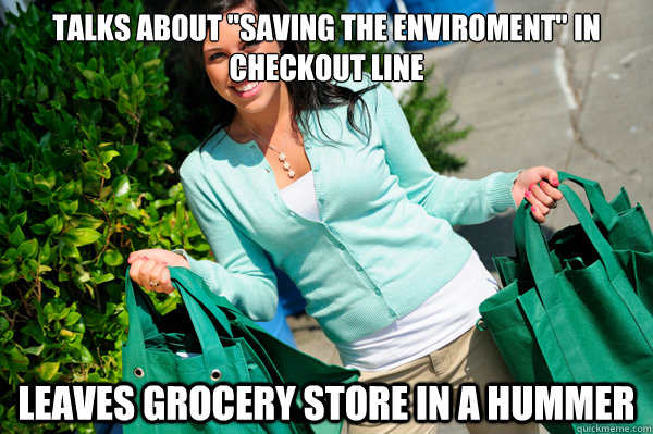 talks about saving the enviroment in checkout line leaves  -