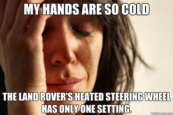 my hands are so cold the land rovers heated steering wheel  - First World Problems