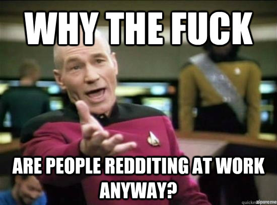 why the fuck are people redditing at work anyway - why the fuck picard