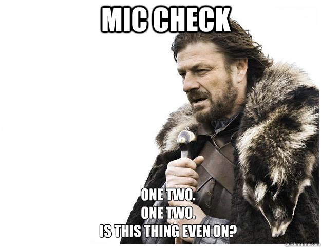 mic check one two one two is this thing even on - Imminent Ned