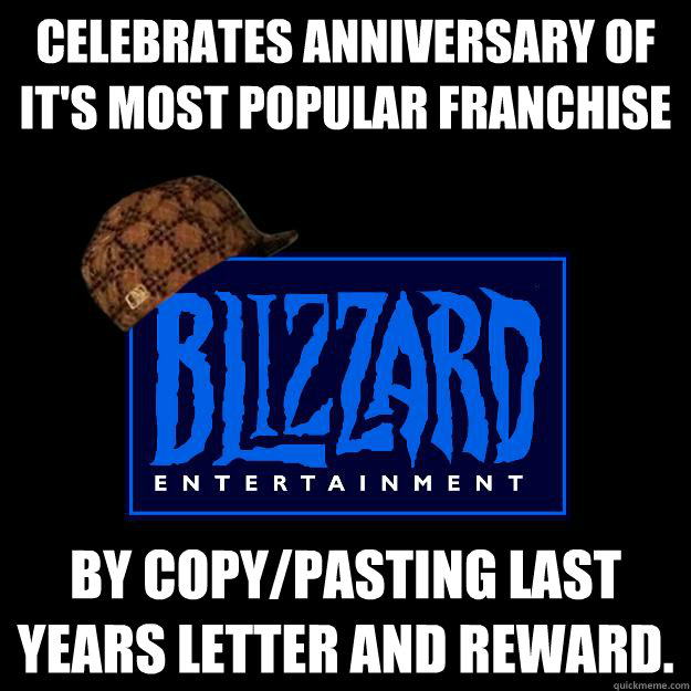 celebrates anniversary of its most popular franchise by cop - Scumbag Blizzard