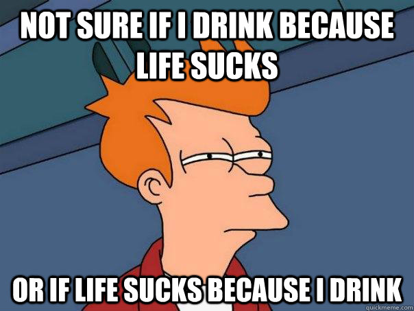 not sure if i drink because life sucks or if life sucks beca - Futurama Fry