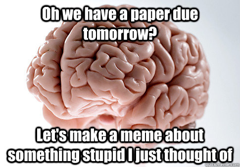 oh we have a paper due tomorrow lets make a meme about som - Scumbag Brain