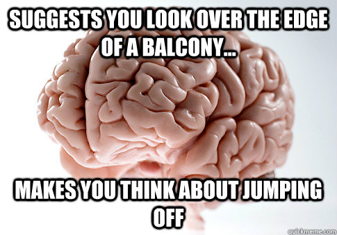 suggests you look over the edge of a balcony makes you th - Scumbag Brain