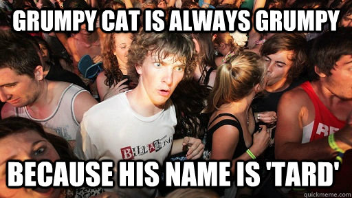 grumpy cat is always grumpy because his name is tard - Sudden Clarity Clarence