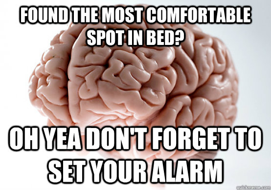 found the most comfortable spot in bed oh yea dont forget  - Scumbag Brain make you late to work