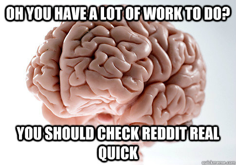 oh you have a lot of work to do you should check reddit rea - Scumbag Brain