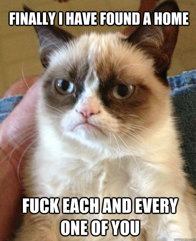 finally i have found a home fuck each and every one of you - Grumpy Cat