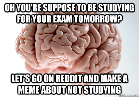 oh youre suppose to be studying for your exam tomorrow let - Scumbag Brain