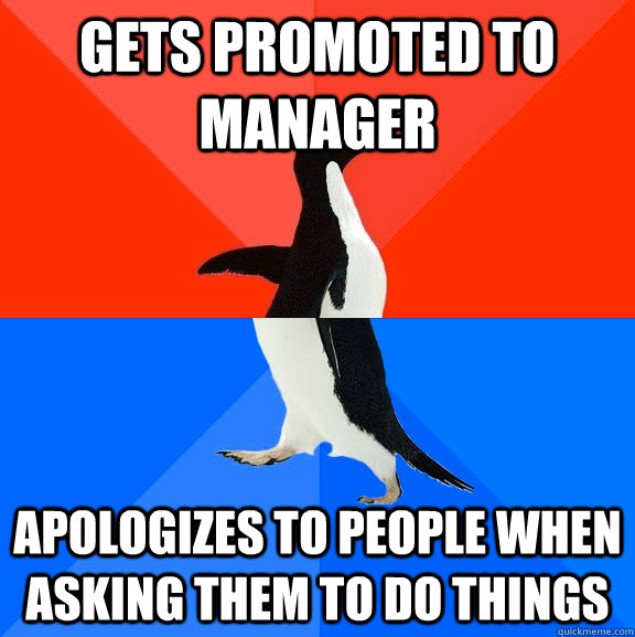 gets promoted to manager apologizes to people when asking th - Socially Awesome Awkward Penguin