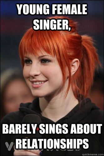 young female singer barely sings about relationships - Hayley Williams