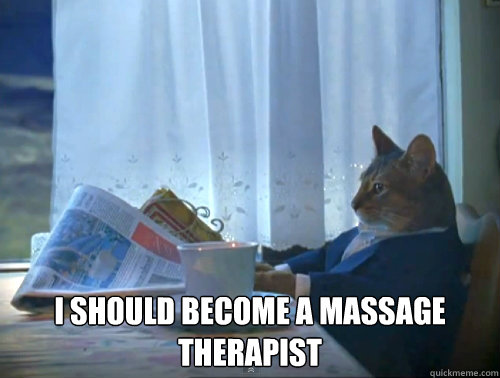 i should become a massage therapist - The One Percent Cat