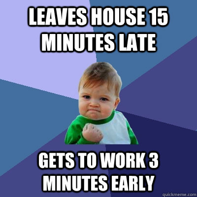leaves house 15 minutes late gets to work 3 minutes early - Success Kid
