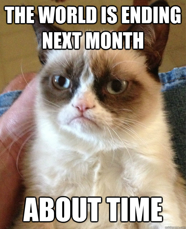the world is ending next month about time - Grumpy Cat