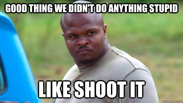 good thing we didnt do anything stupid like shoot it -