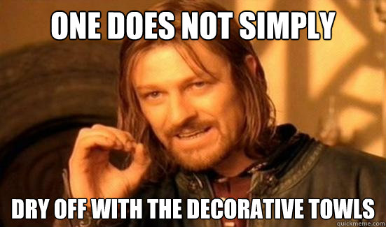 one does not simply dry off with the decorative towls - Boromir