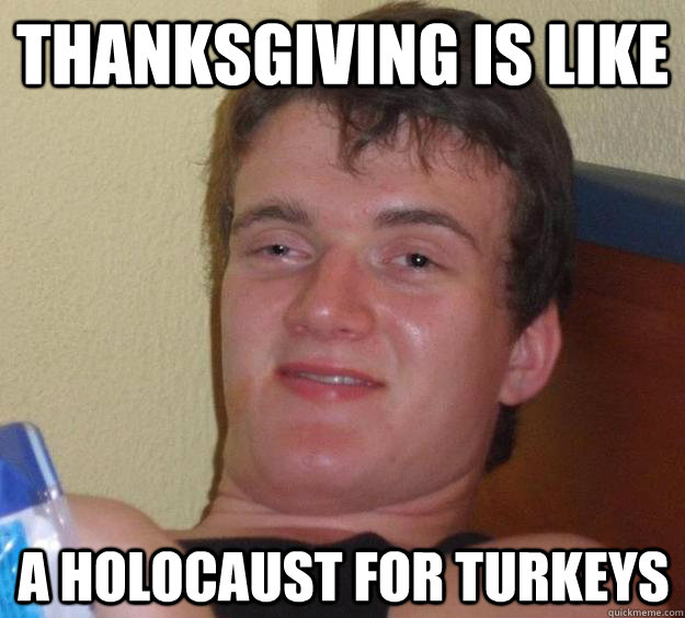 thanksgiving is like a holocaust for turkeys - 10 Guy