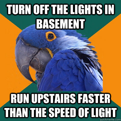 turn off the lights in basement run upstairs faster than the - Paranoid Parrot