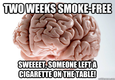 two weeks smokefree sweeeet someone left a cigarette on th - Scumbag Brain