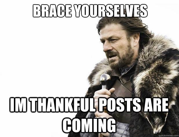 brace yourselves im thankful posts are coming - Brace Yourself