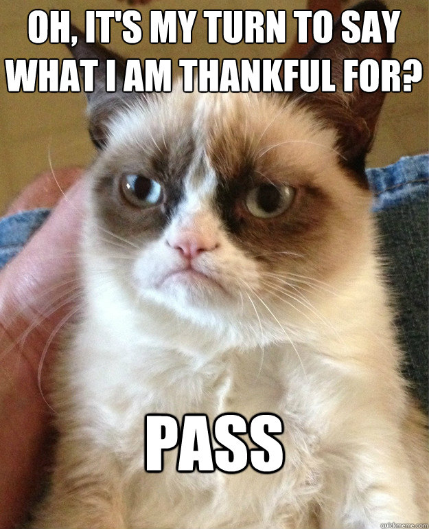 oh its my turn to say what i am thankful for pass - Grumpy Cat
