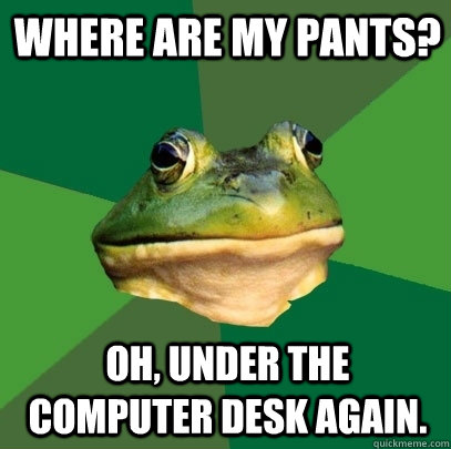 where are my pants oh under the computer desk again - Foul Bachelor Frog