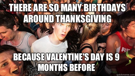 There are so many birthdays around thanksgiving Because Vale - Sudden Clarity Clarence