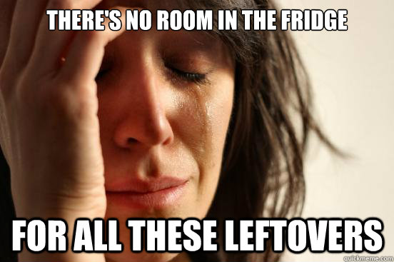 theres no room in the fridge for all these leftovers - First World Problems
