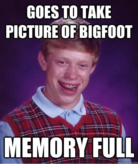 goes to take picture of bigfoot memory full - Bad luck bryan