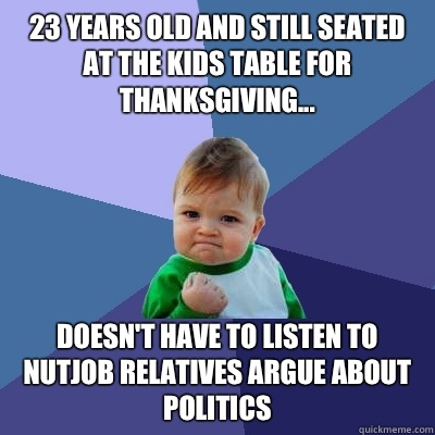 23 years old and still seated at the kids table for thanksgi - Success Kid