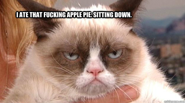 i ate that fucking apple pie sitting down - Grumpy cat