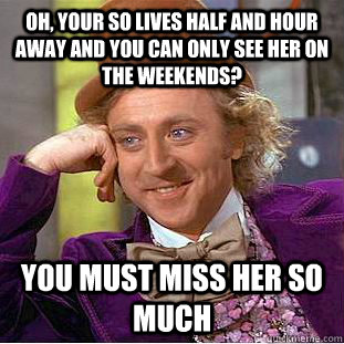 oh your so lives half and hour away and you can only see he - Condescending Wonka