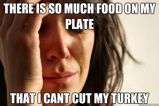 there is so much food on my plate that i cant cut my turkey - First World Problems